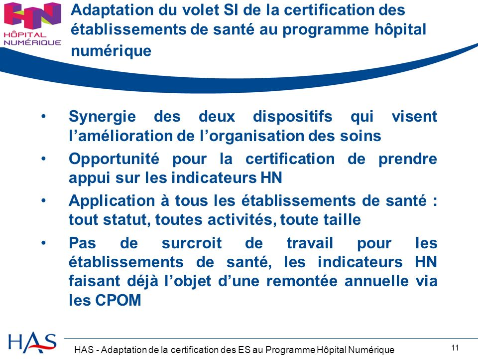 Adaptation du volet SI de la certification des établissements de santé au programme hôpital numérique