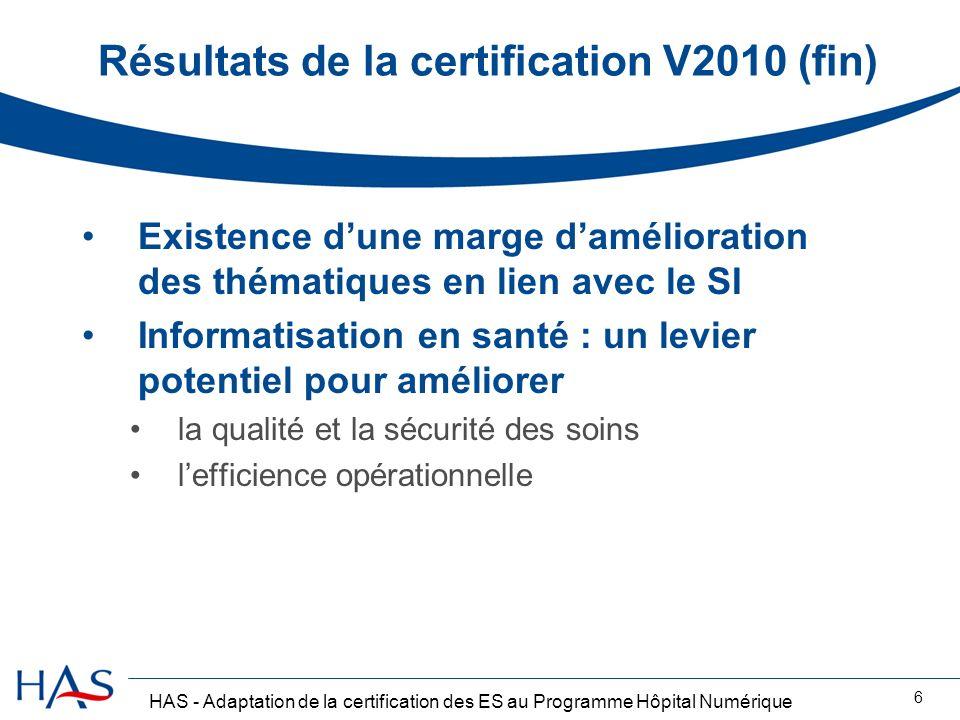 Résultats de la certification V2010 (fin)