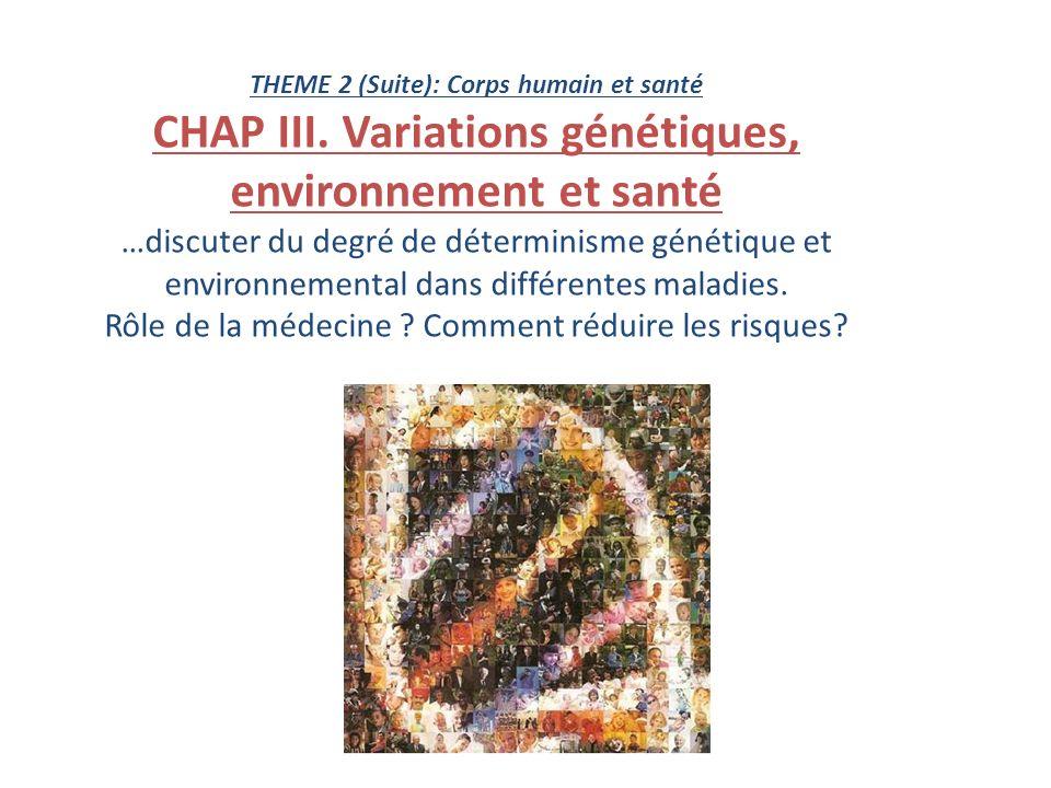 THEME 2 (Suite): Corps humain et santé CHAP III