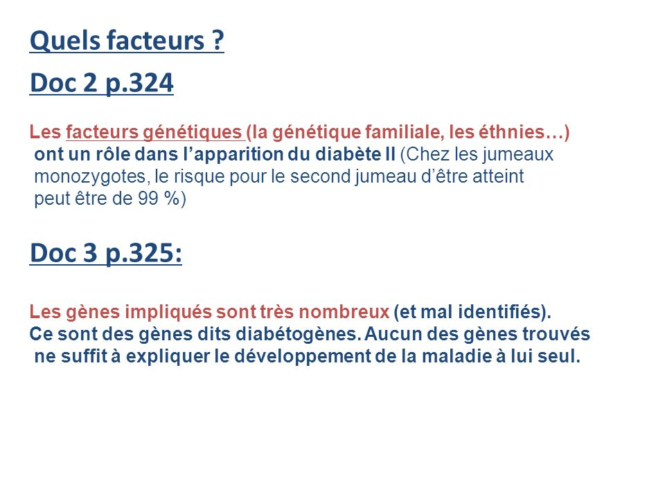 Quels facteurs Doc 2 p.324 Doc 3 p.325: