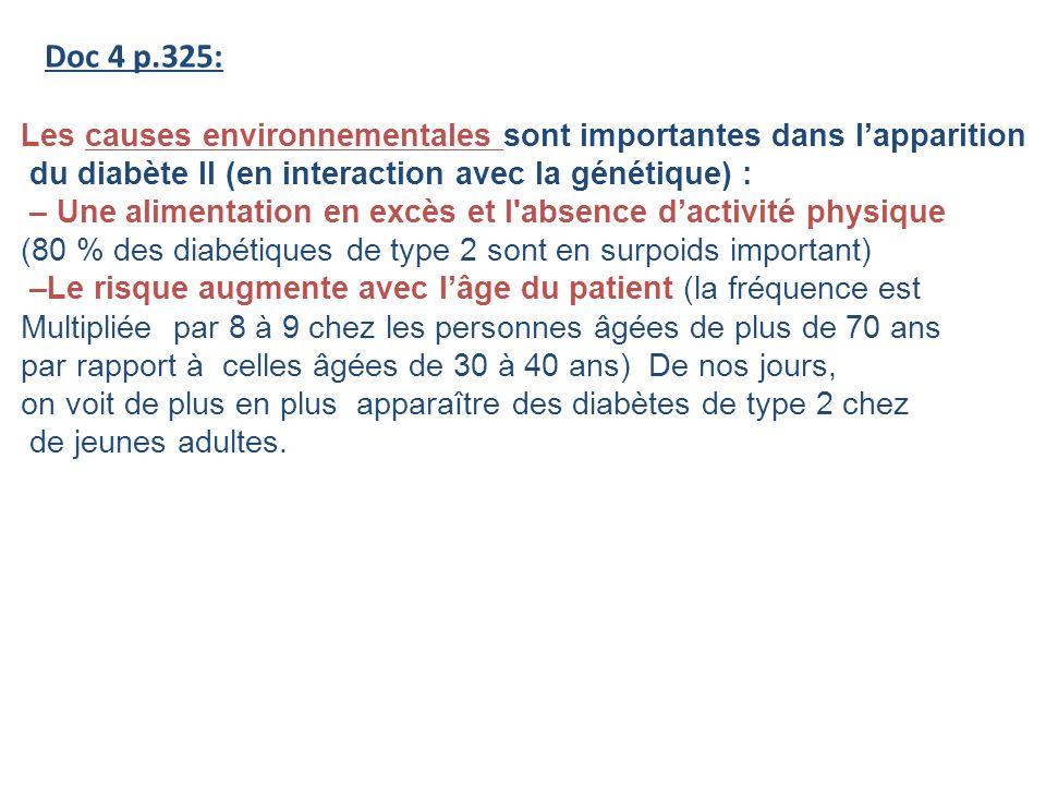 Doc 4 p.325: Les causes environnementales sont importantes dans l'apparition. du diabète II (en interaction avec la génétique) :
