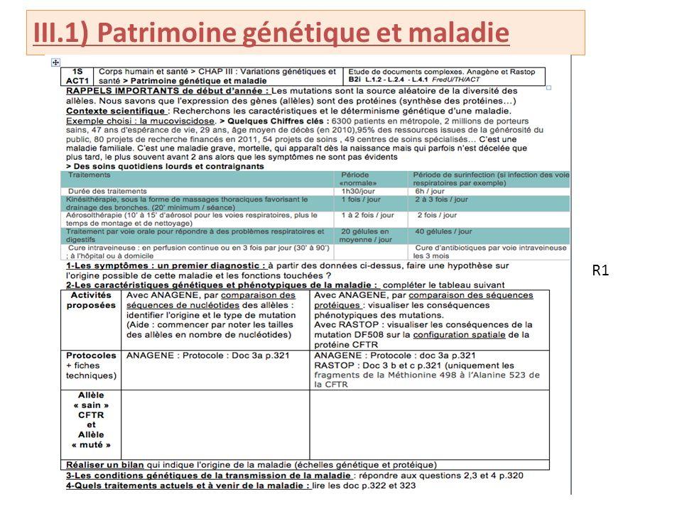 III.1) Patrimoine génétique et maladie