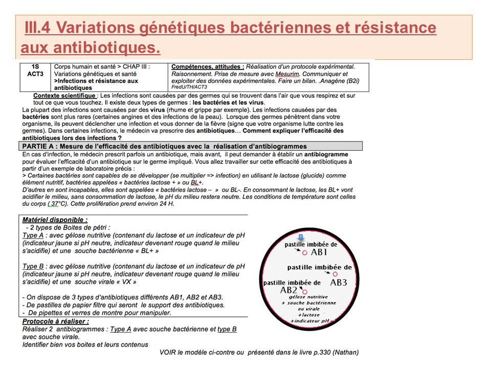 III.4 Variations génétiques bactériennes et résistance aux antibiotiques.