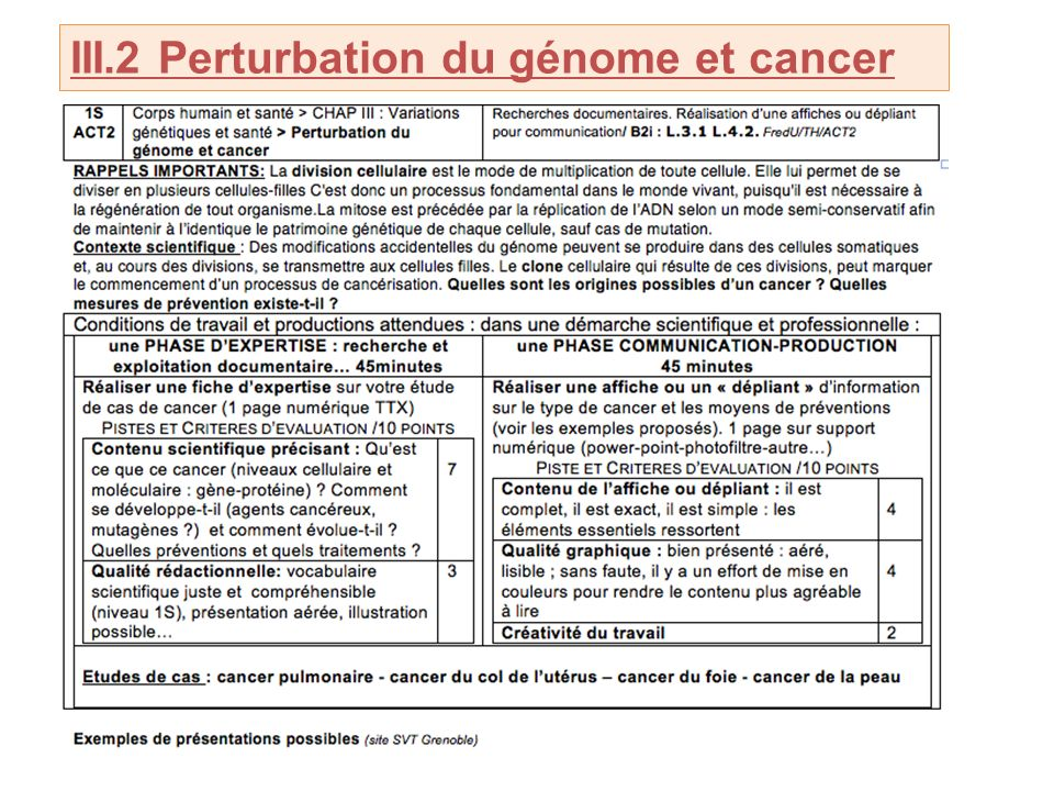 III.2 Perturbation du génome et cancer