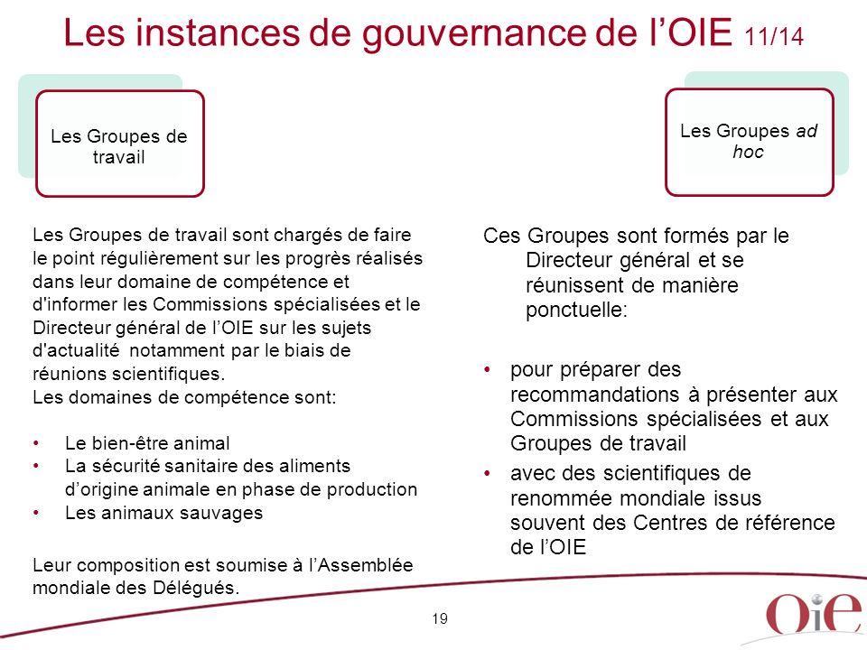 Les instances de gouvernance de l'OIE 11/14