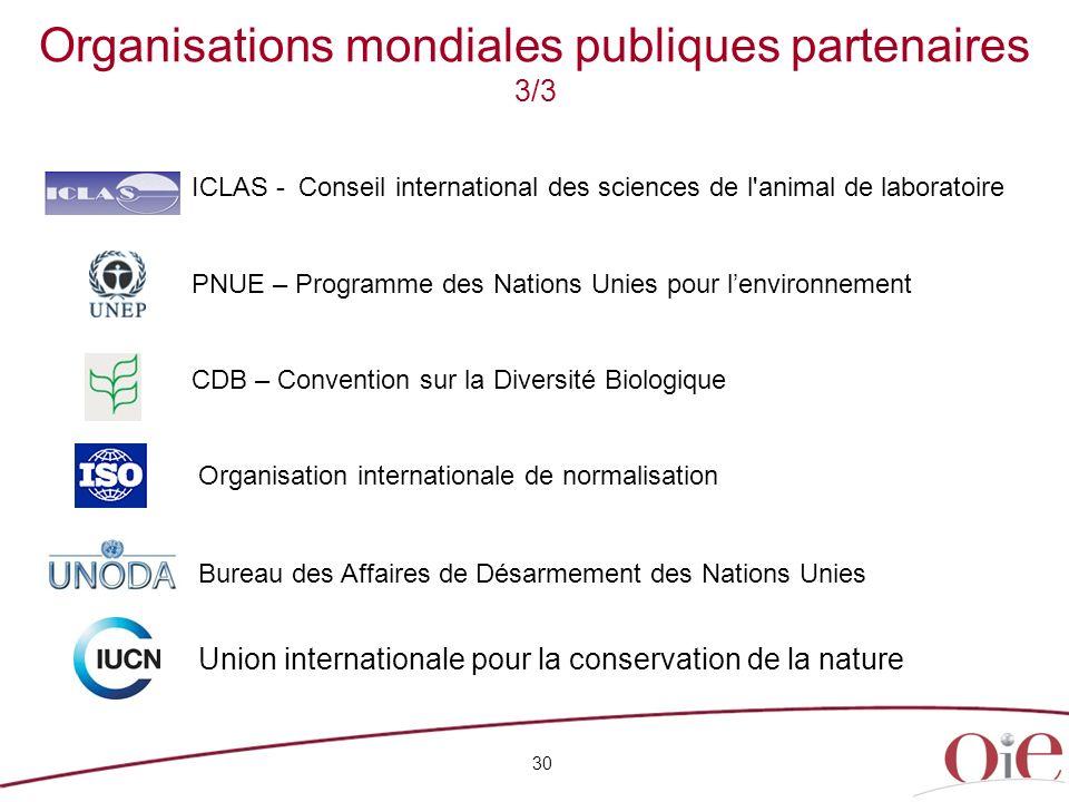 Organisations mondiales publiques partenaires 3/3
