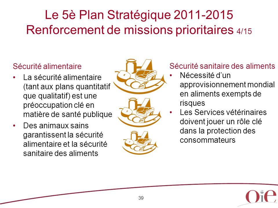 Le 5è Plan Stratégique 2011-2015 Renforcement de missions prioritaires 4/15