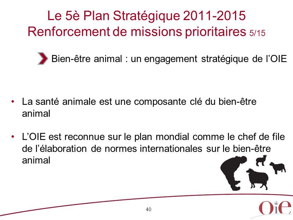 Le 5è Plan Stratégique 2011-2015 Renforcement de missions prioritaires 5/15