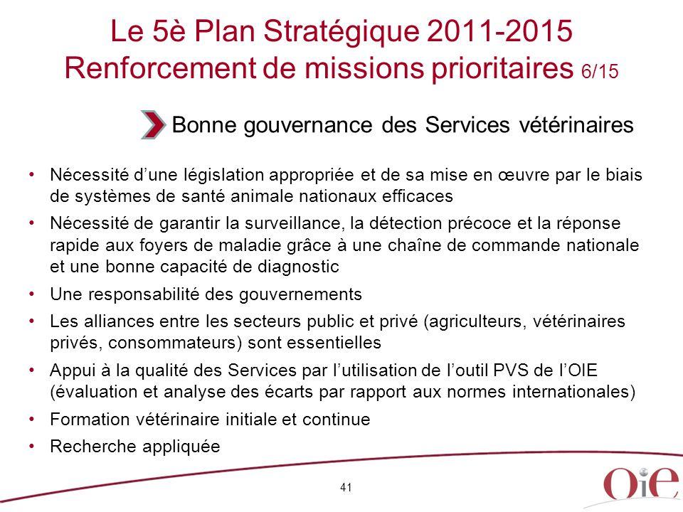 Le 5è Plan Stratégique 2011-2015 Renforcement de missions prioritaires 6/15