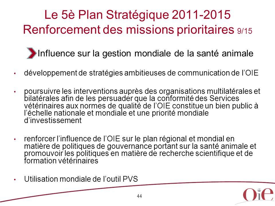 Le 5è Plan Stratégique 2011-2015 Renforcement des missions prioritaires 9/15