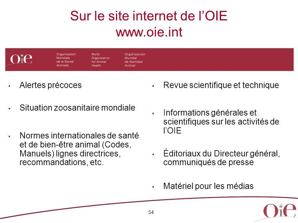 Sur le site internet de l'OIE www.oie.int