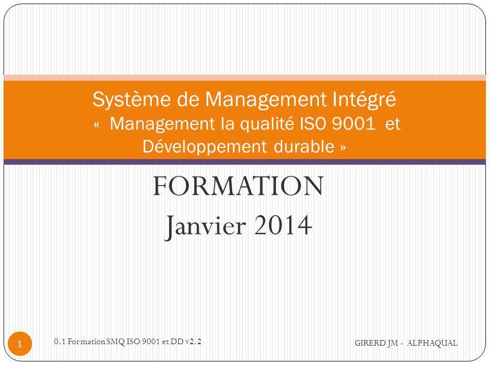 alphaqual@wanadoo.fr Système de Management Intégré « Management la qualité ISO 9001 et Développement durable »