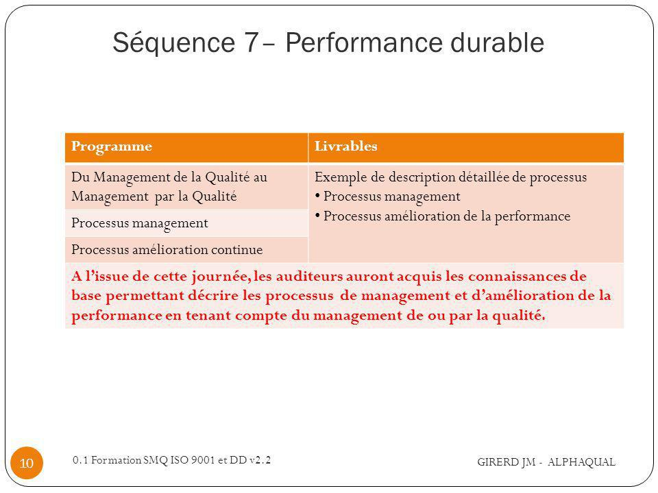 Séquence 7– Performance durable