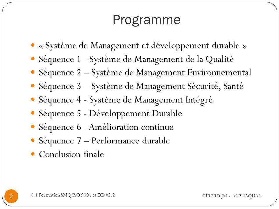Programme « Système de Management et développement durable »