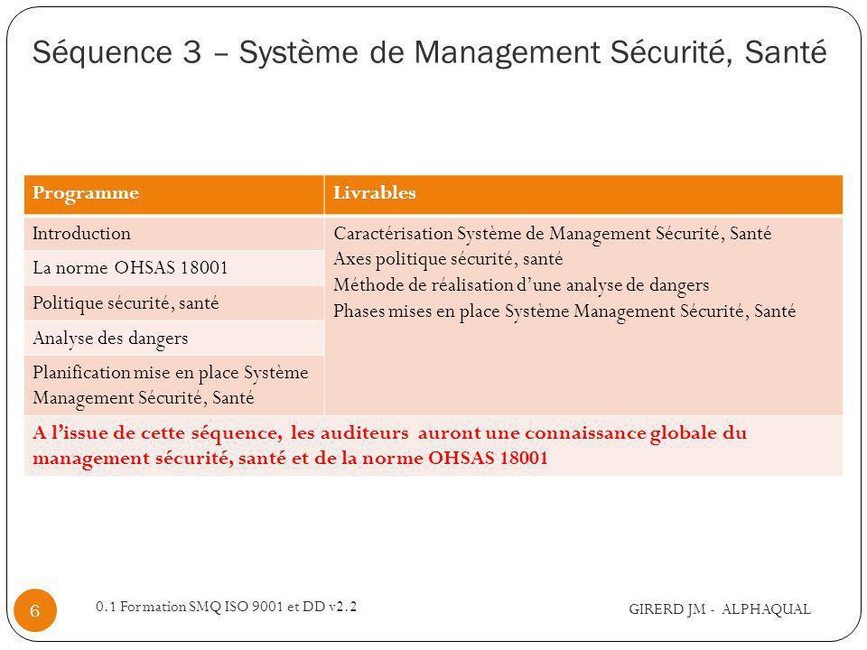 Séquence 3 – Système de Management Sécurité, Santé