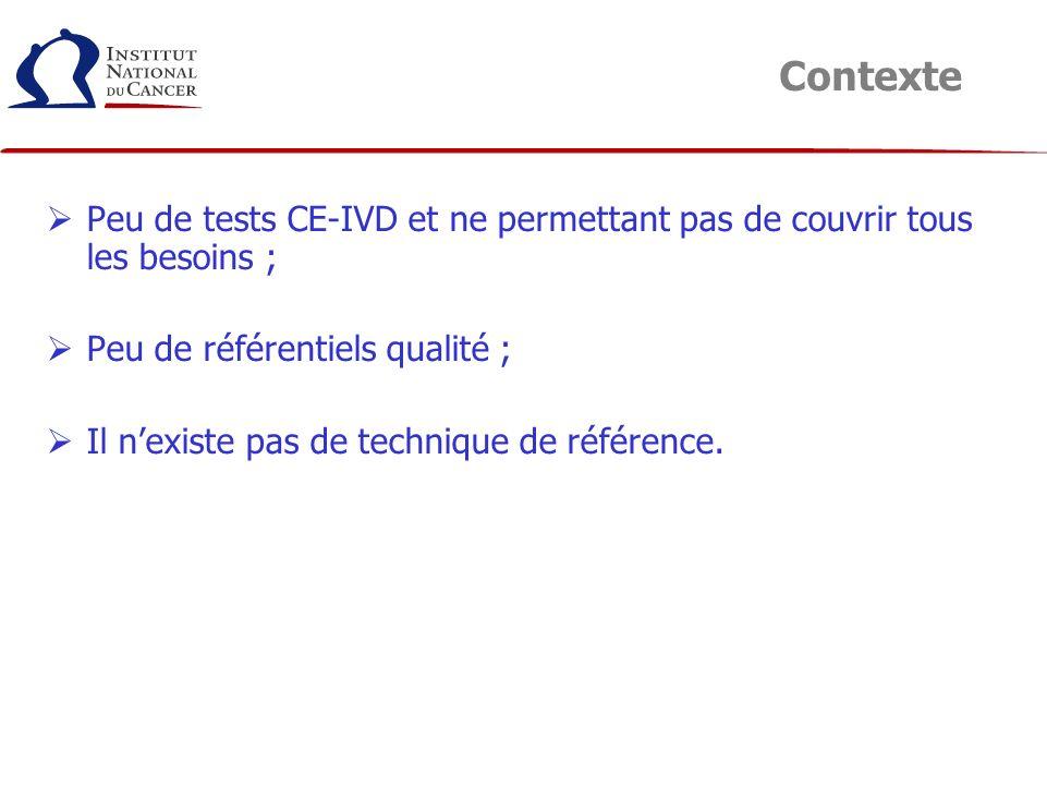 Contexte Peu de tests CE-IVD et ne permettant pas de couvrir tous les besoins ; Peu de référentiels qualité ;
