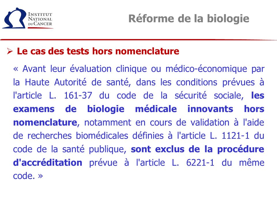 Réforme de la biologie Le cas des tests hors nomenclature