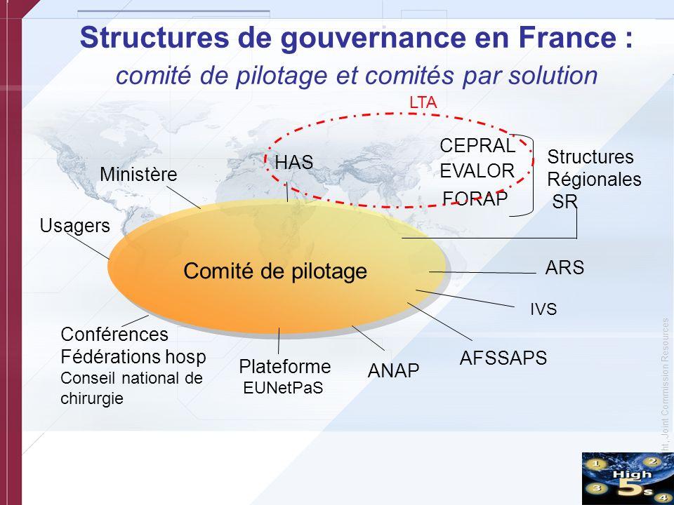Structures de gouvernance en France : comité de pilotage et comités par solution