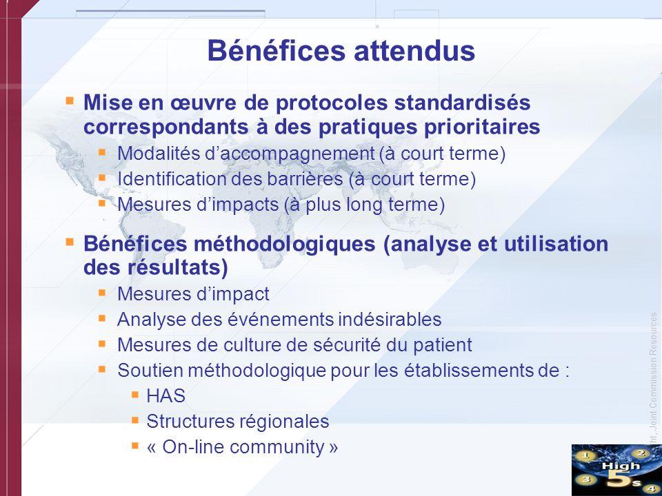 Bénéfices attendus Mise en œuvre de protocoles standardisés correspondants à des pratiques prioritaires.