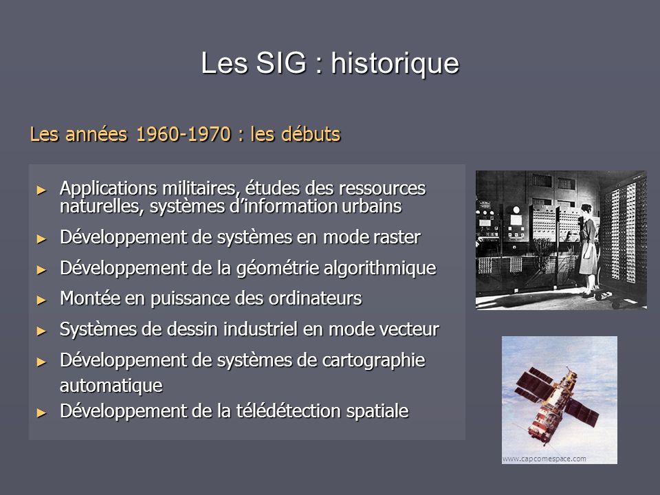 Les SIG : historique Les années 1960-1970 : les débuts