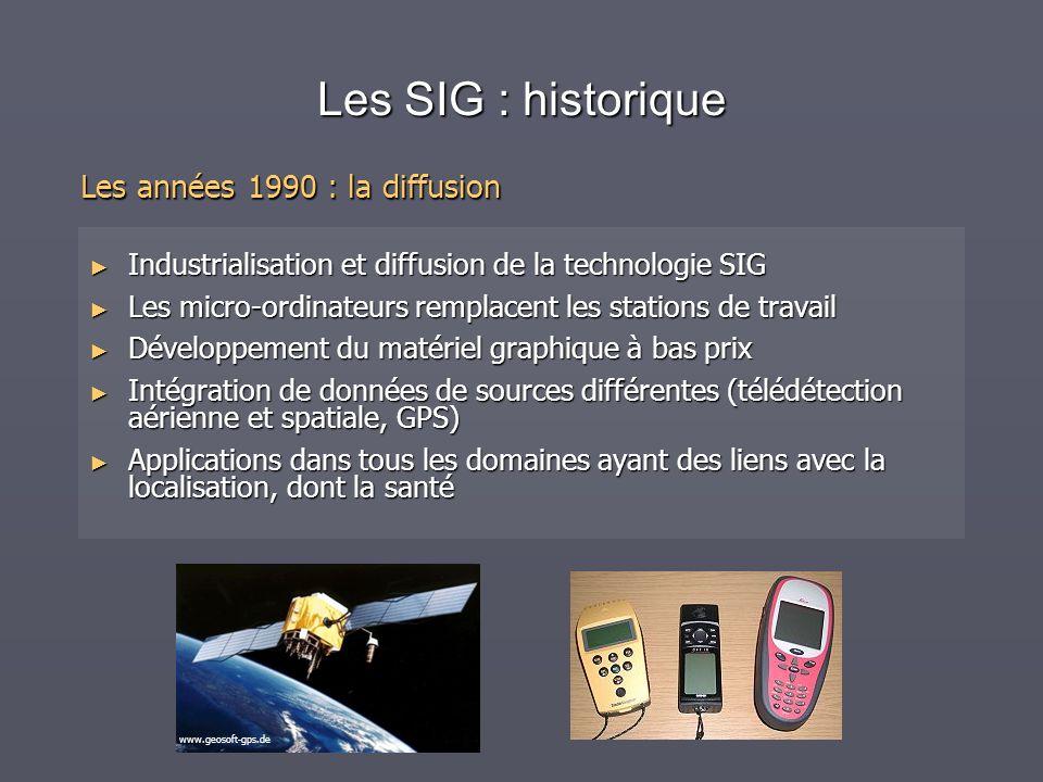 Les SIG : historique Les années 1990 : la diffusion