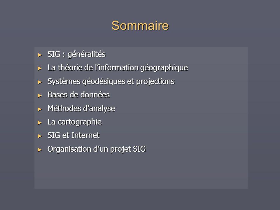Sommaire SIG : généralités La théorie de l'information géographique