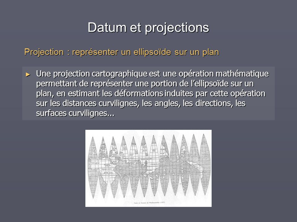 Datum et projections Projection : représenter un ellipsoïde sur un plan.