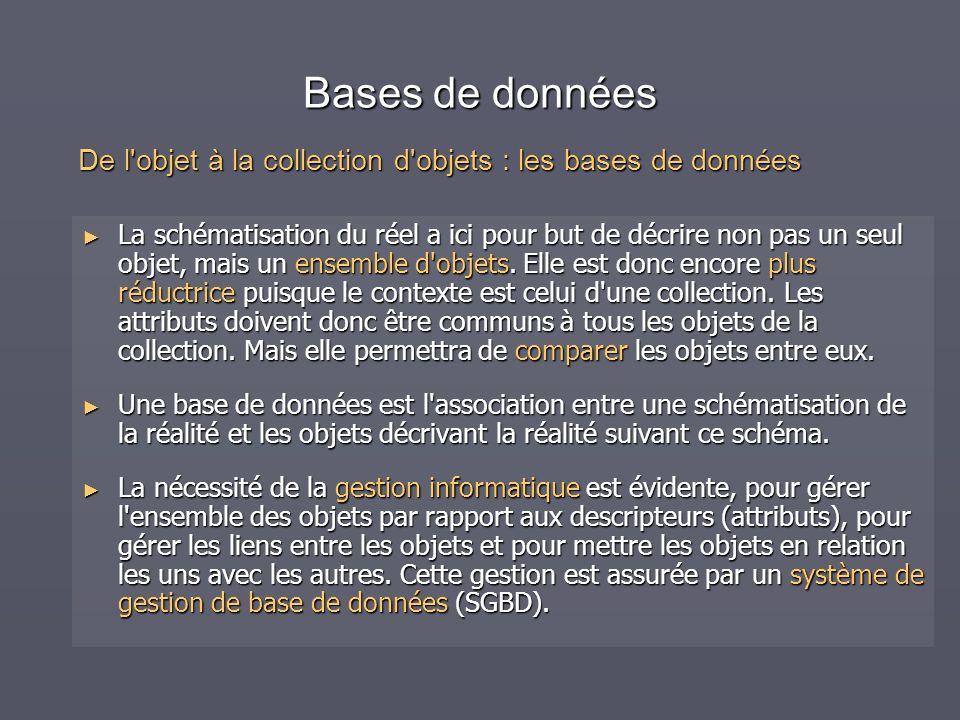 Bases de données De l objet à la collection d objets : les bases de données.