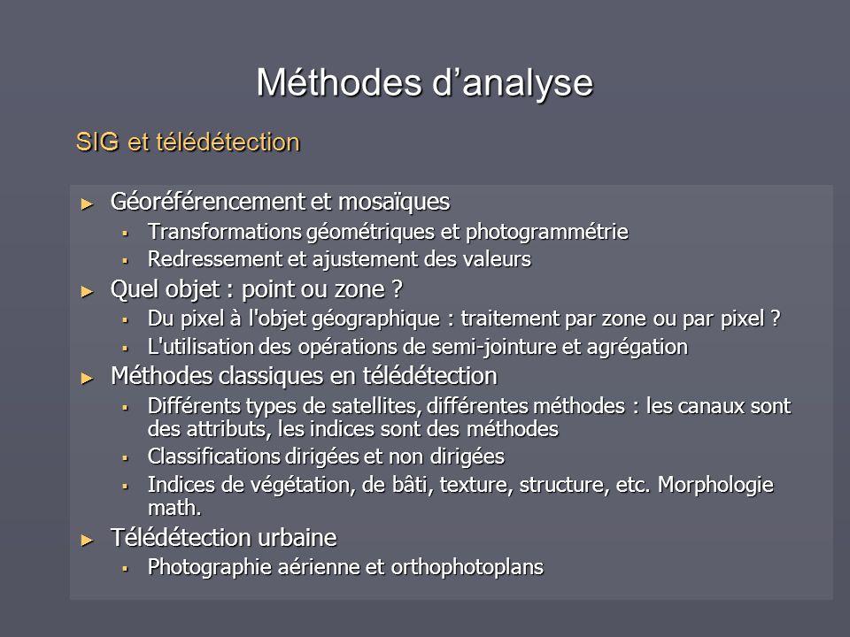 Méthodes d'analyse SIG et télédétection Géoréférencement et mosaïques