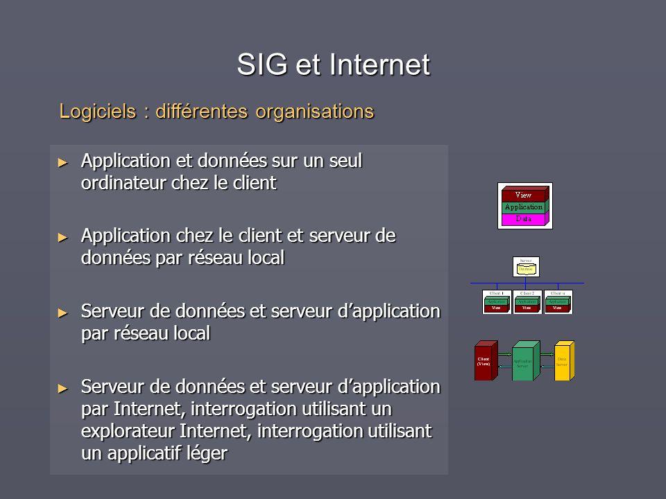 SIG et Internet Logiciels : différentes organisations