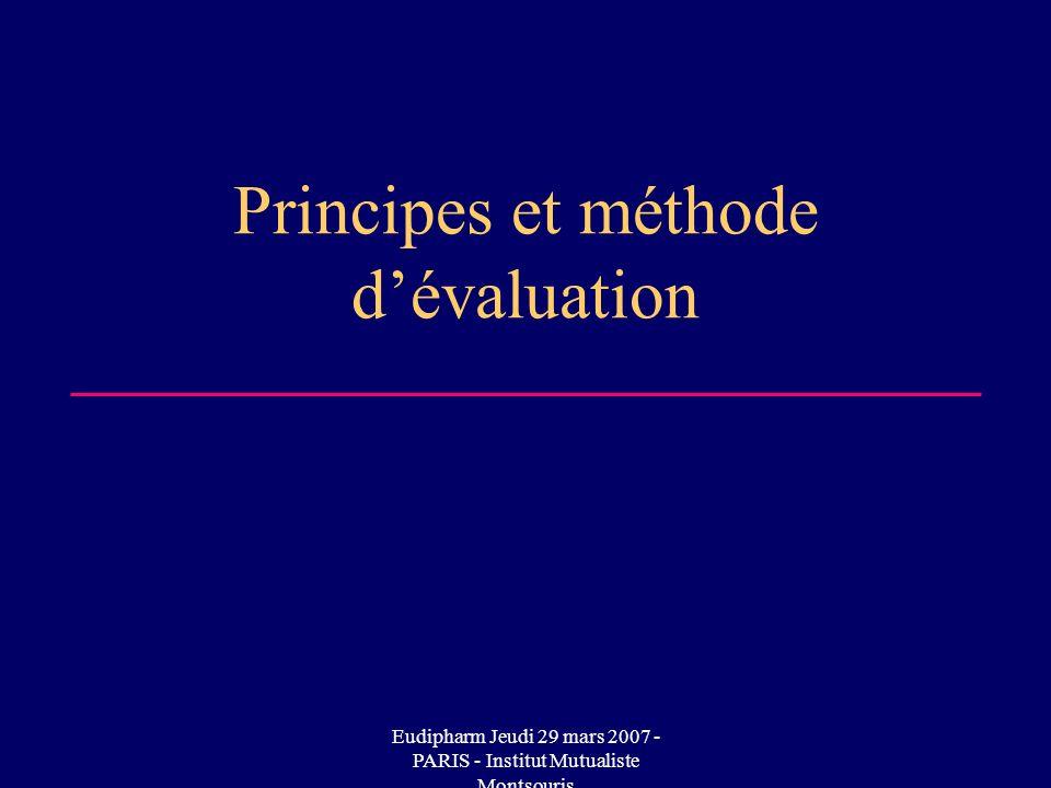 Principes et méthode d'évaluation