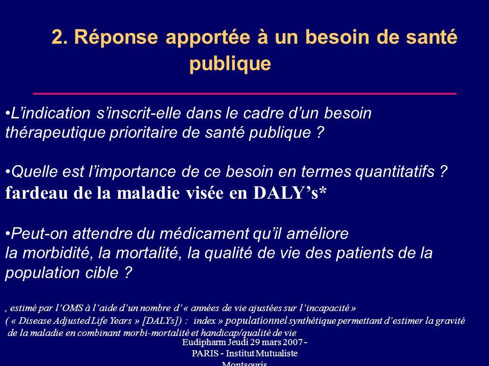 2. Réponse apportée à un besoin de santé publique