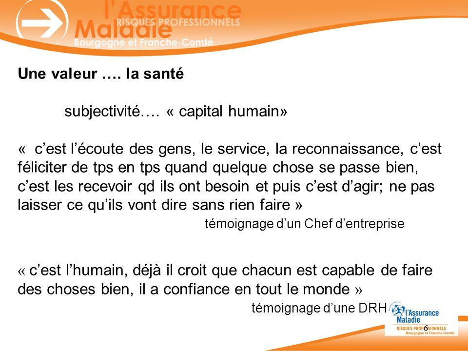 Une valeur …. la santé subjectivité…. « capital humain»
