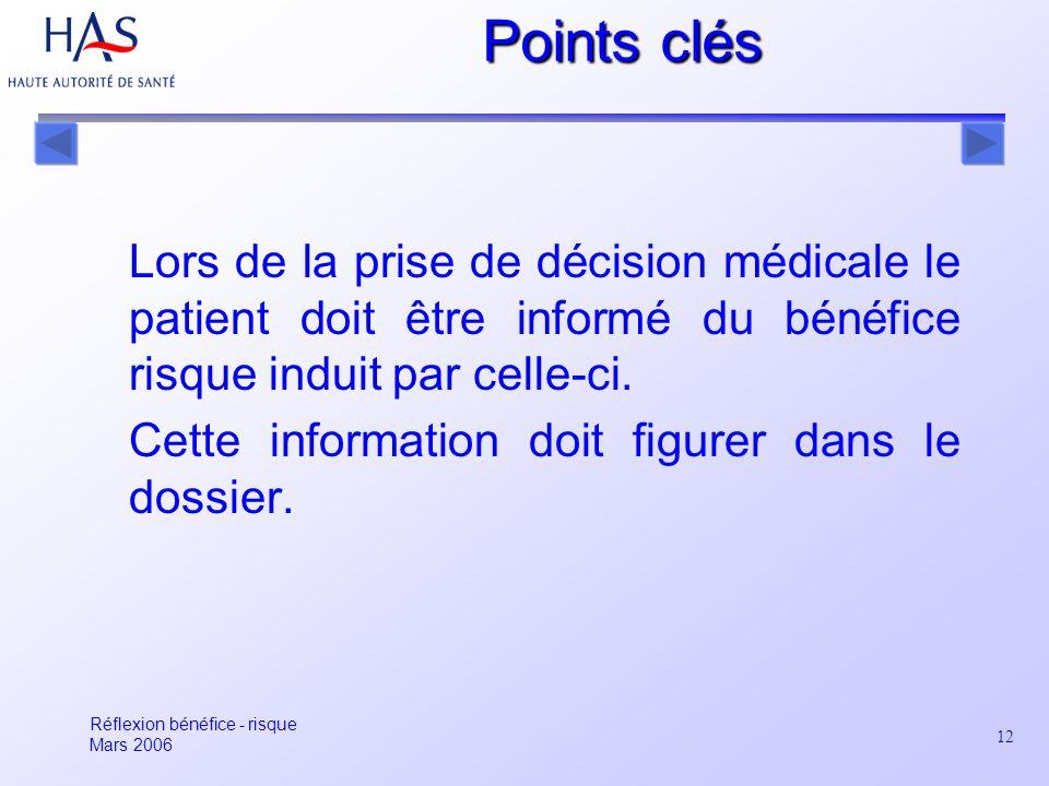 Points clés Lors de la prise de décision médicale le patient doit être informé du bénéfice risque induit par celle-ci.