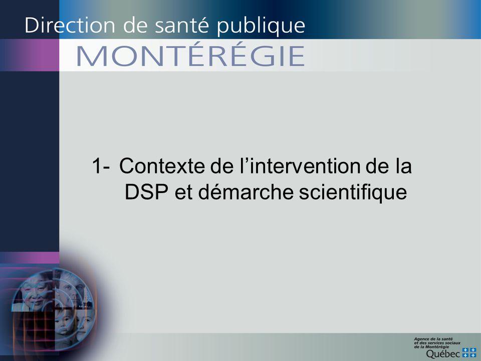 1- Contexte de l'intervention de la DSP et démarche scientifique