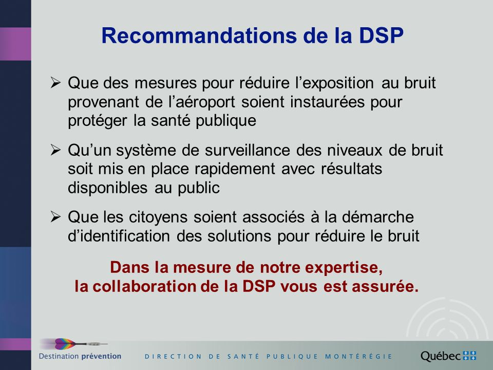 Recommandations de la DSP