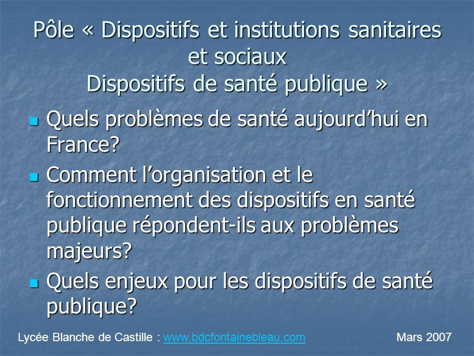 Pôle « Dispositifs et institutions sanitaires et sociaux Dispositifs de santé publique »