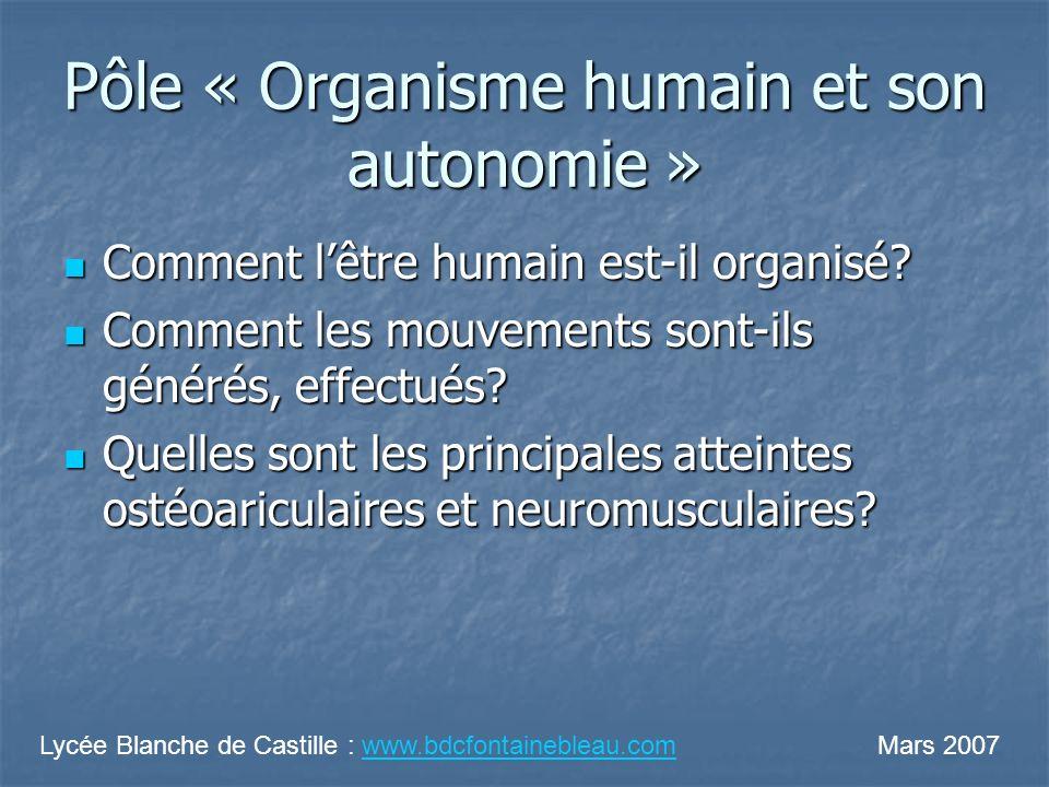 Pôle « Organisme humain et son autonomie »
