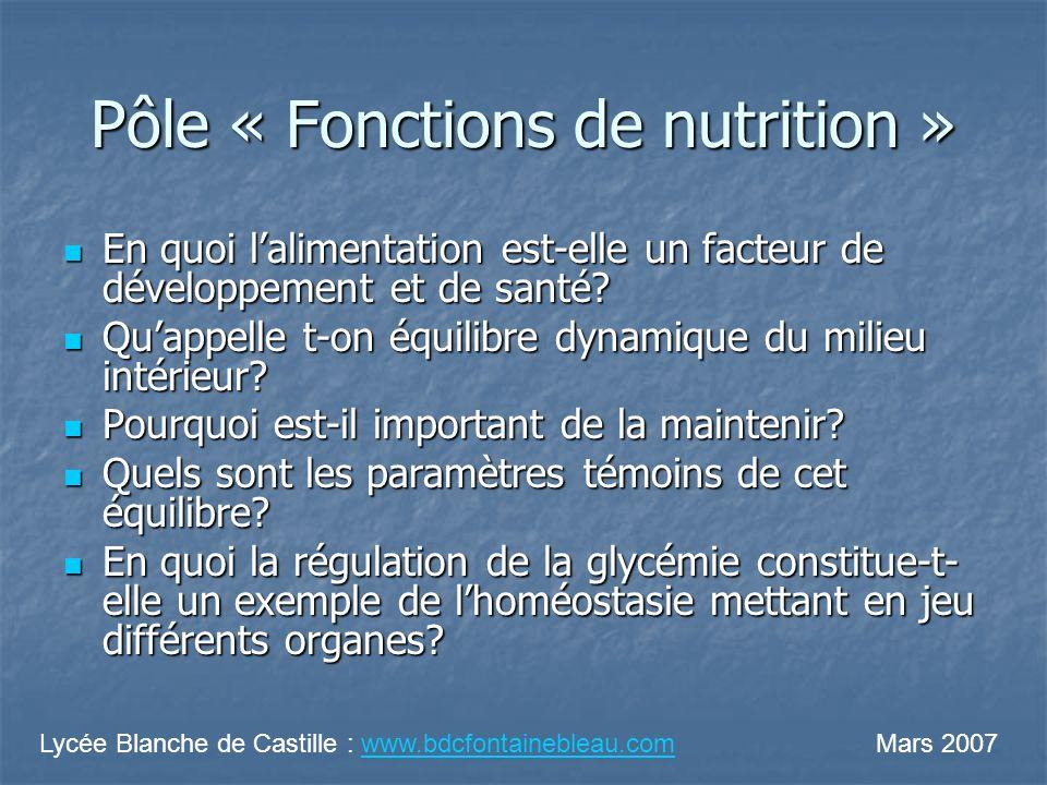 Pôle « Fonctions de nutrition »