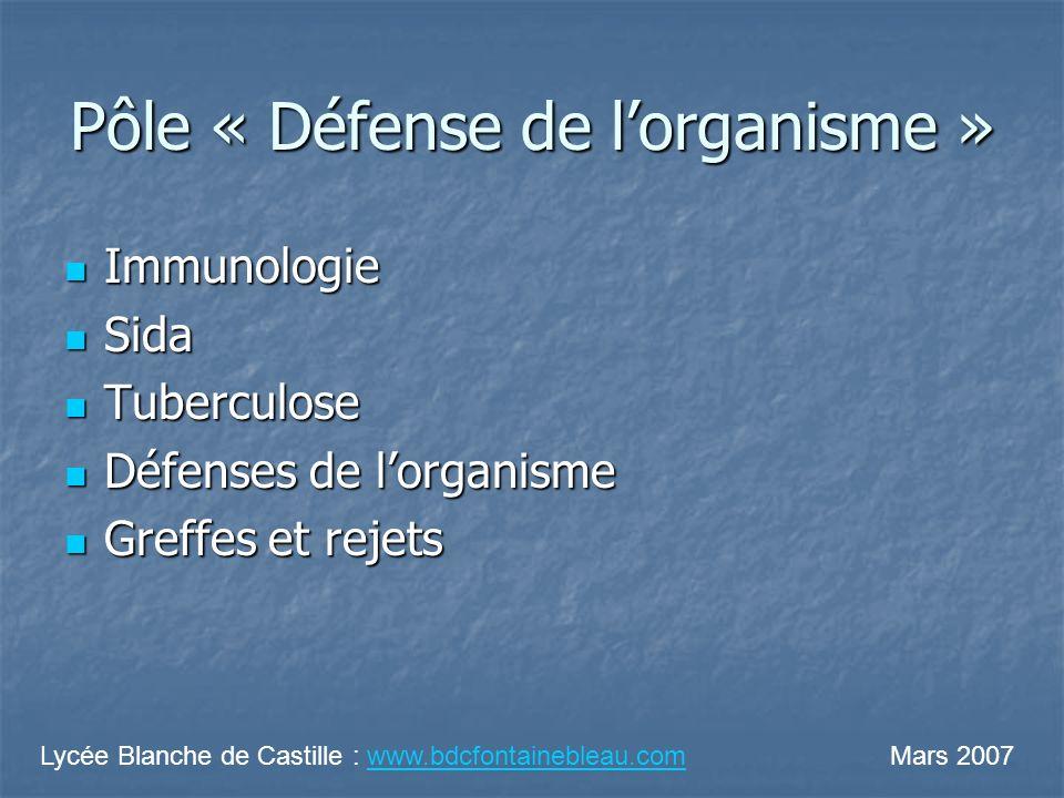 Pôle « Défense de l'organisme »