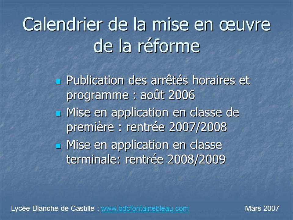 Calendrier de la mise en œuvre de la réforme