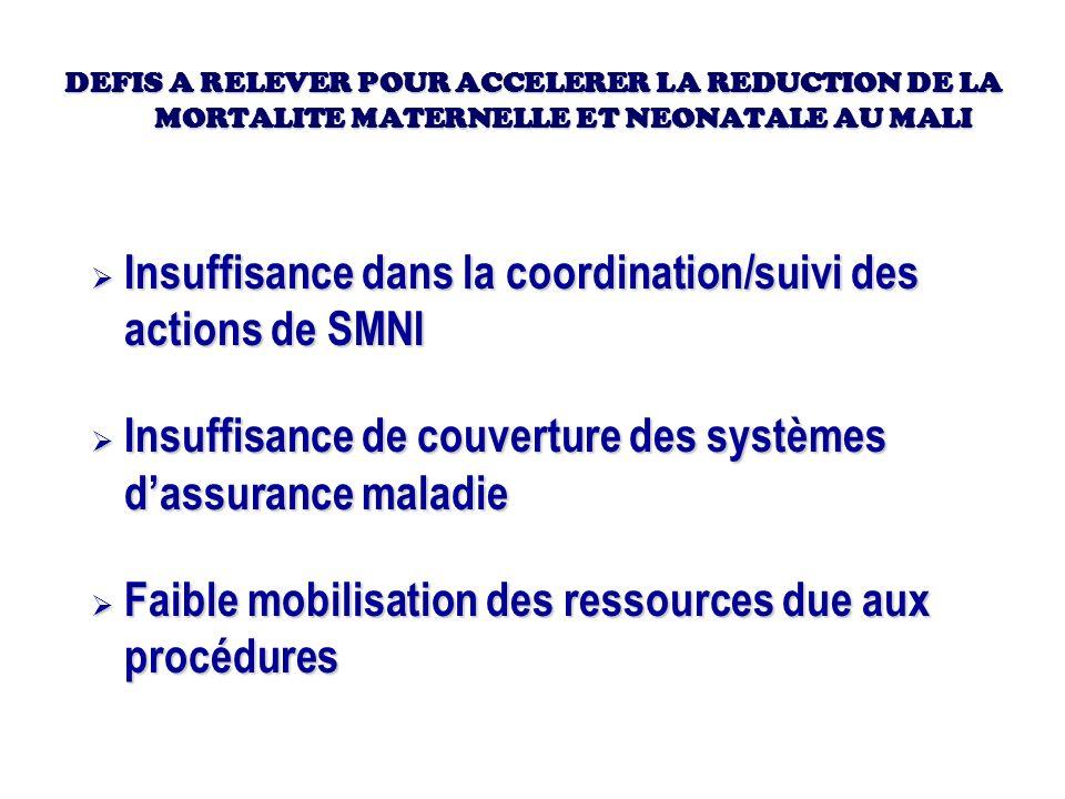 Insuffisance dans la coordination/suivi des actions de SMNI