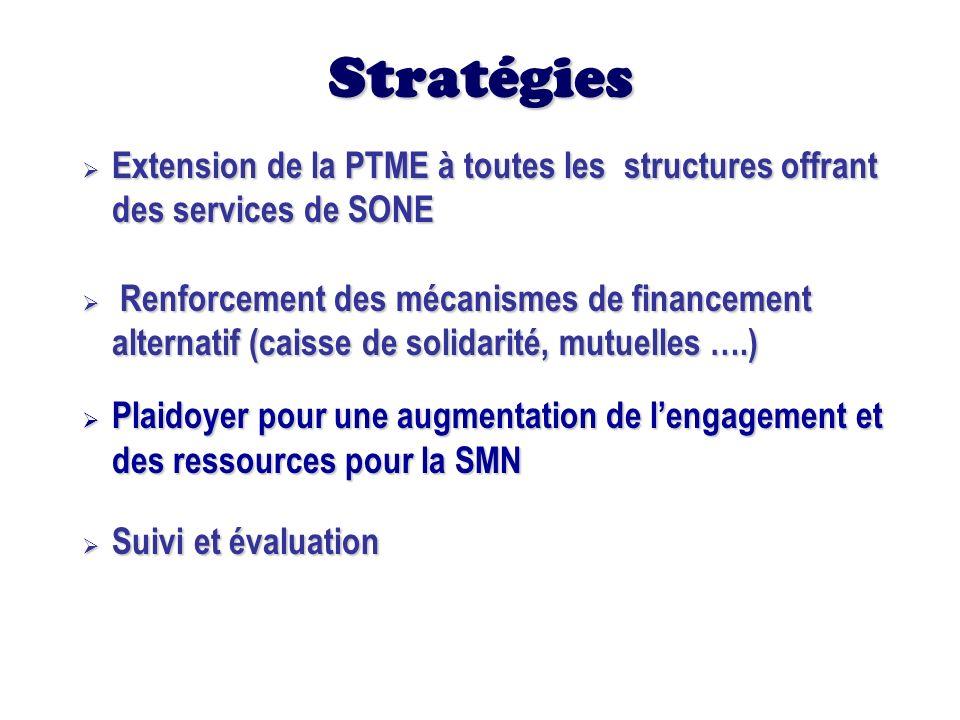 Stratégies Extension de la PTME à toutes les structures offrant des services de SONE.