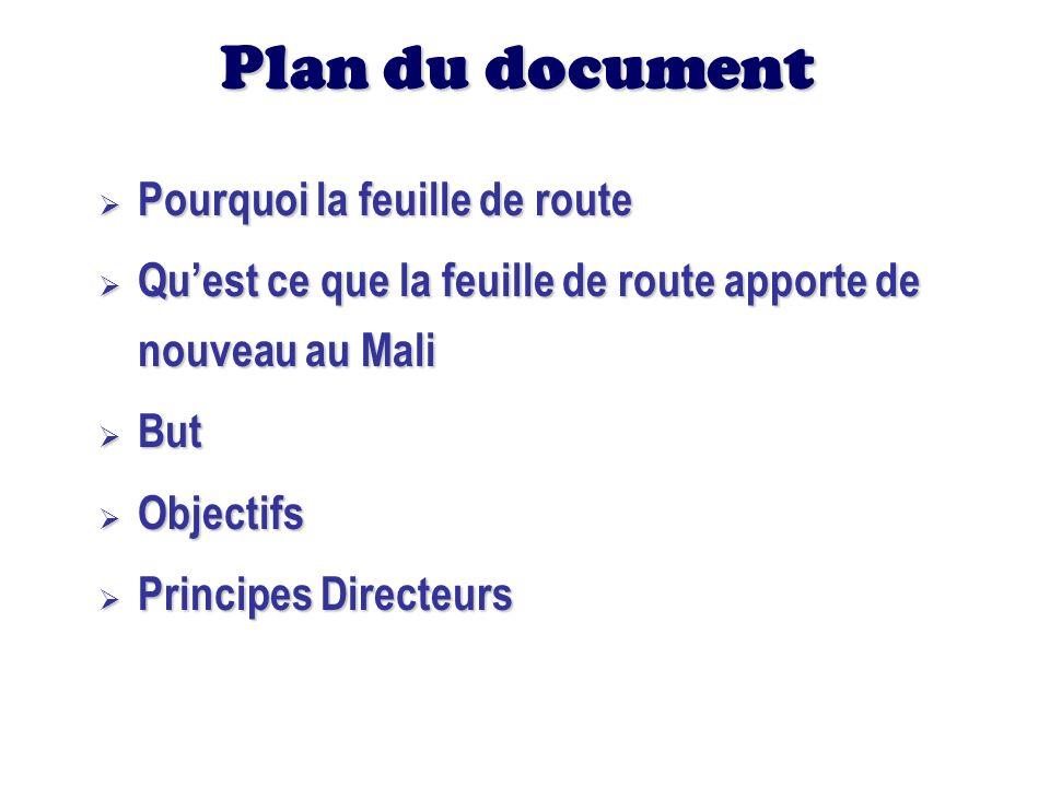 Plan du document Pourquoi la feuille de route