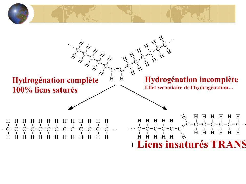 Liens insaturés TRANS Hydrogénation complète Hydrogénation incomplète