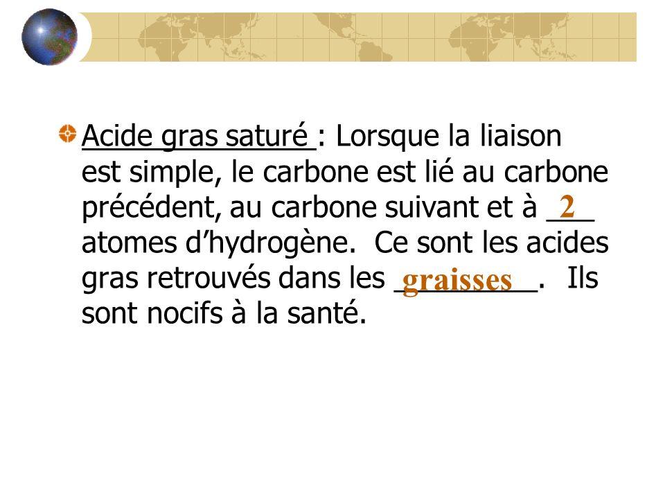 Acide gras saturé : Lorsque la liaison est simple, le carbone est lié au carbone précédent, au carbone suivant et à ___ atomes d'hydrogène. Ce sont les acides gras retrouvés dans les _________. Ils sont nocifs à la santé.