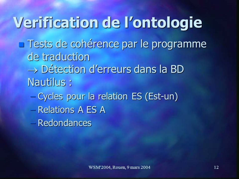 Verification de l'ontologie