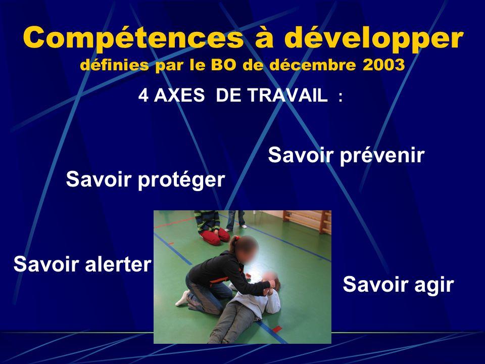 Compétences à développer définies par le BO de décembre 2003