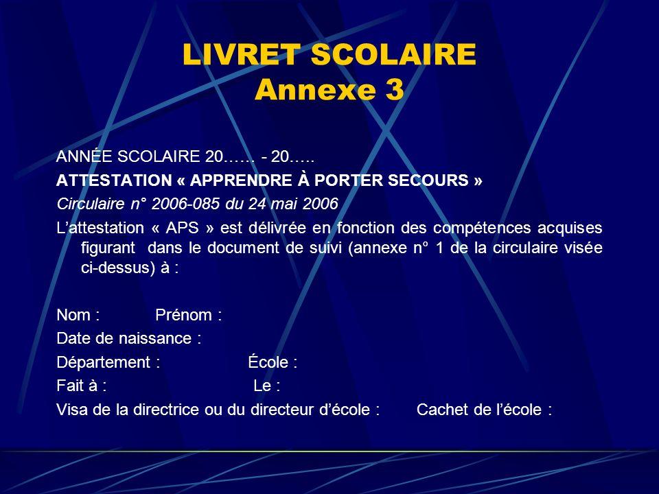 LIVRET SCOLAIRE Annexe 3