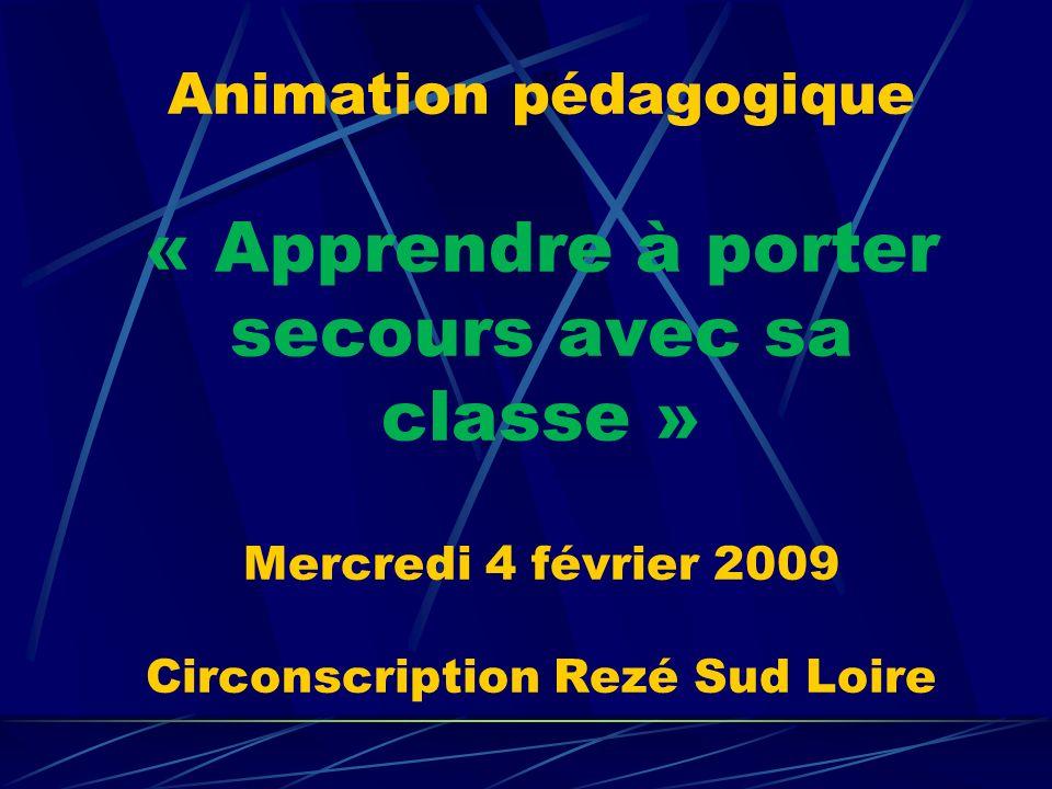 Animation pédagogique « Apprendre à porter secours avec sa classe » Mercredi 4 février 2009 Circonscription Rezé Sud Loire